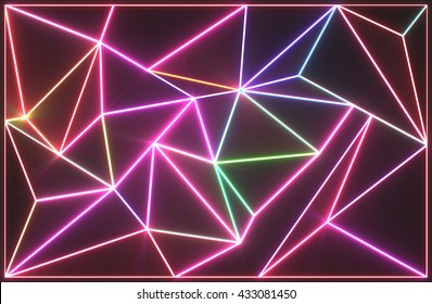 Abstract tessellated wall with neon glowing crack lines.Architectural space 3d illustration