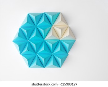 Abstract tetrahedron pie chart background. Copy space available. Usefull for business and web