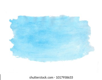 Abstract texture brush ink background blue aquarel watercolor splash hand paint on white background