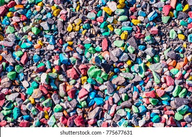 abstract texture of multicolor small stones. top view colorfull vivid background.