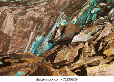 Abstract texture of the oxidated copper on the walls of the underground copper mine in Norway.