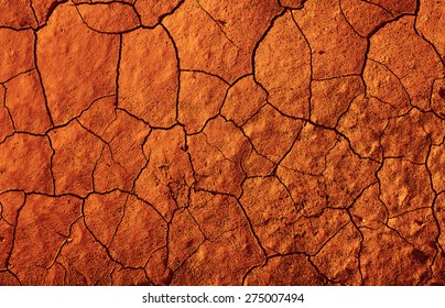 Abstract texture of red-hot cracked dirt as background
