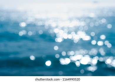 Abstract textures surface pattern design bright glitter geometry octagon bokeh of the clear waters reflect the sunshine in the daytime at Koh Samet in Thailand, to nature background concept.