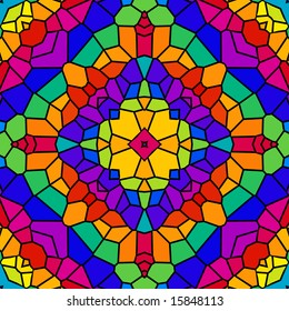 Abstract tile kaleidoscope in rainbow colors.