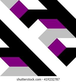 Abstract tiles with op art angular black white gray purple pattern