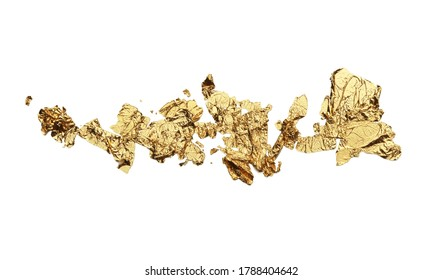 Abstract torn piece of metal leaf (potal) paper on white background. Gold and bronze color.