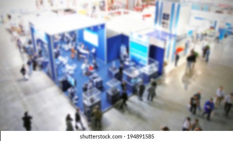 Abstract trade show panoramic view, intentionally blurred post production