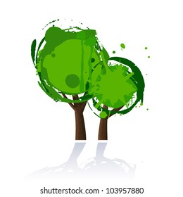 Abstract Tree icon with reflection