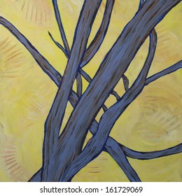 Abstract Tree Limbs Early Morning Painting