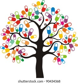 Abstract tree with medical pill on white background. Illustration