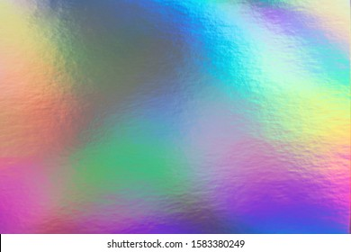 Abstract trendy rainbow holographic background in 80s style. Blurred texture in violet, pink and mint colors with scratches and irregularities. Pastel colors.
