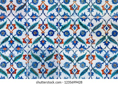 Abstract turkish tile background with blue and white colours.