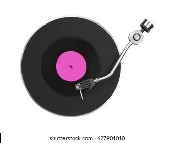 Abstract turntable part isolated on white. Diso music symbol.