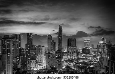 abstract twilight time and cityscape of downtown with black and white filter - can use to display or montage on product