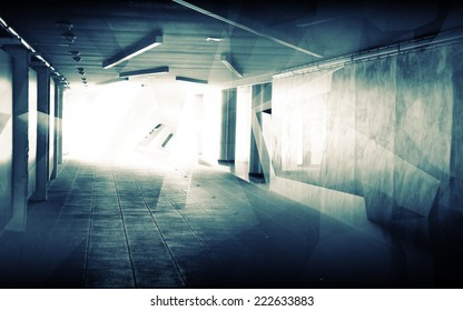 Abstract underground corridor interior with glowing end and polygons illumination