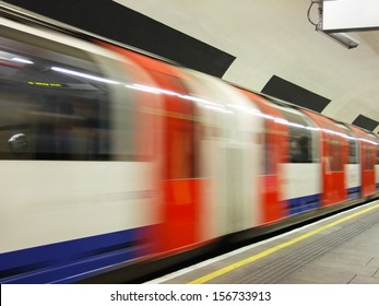 Abstract underground train with motion blur in London
