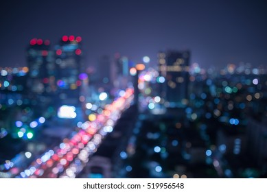 Abstract urban city night light bokeh , defocused background