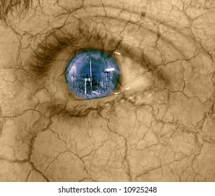 abstract of urban destruction-woman's eye looking at industrial building with dry cracked skin