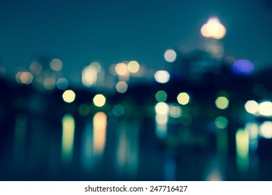 Abstract urban night light bokeh, defocused background