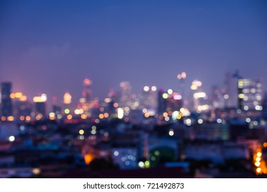 Abstract urban night light bokeh defocused background, city night