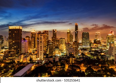 abstract urban skyline cityscape on twilight time - can use to display or montage on product