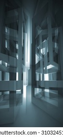 Abstract vertical dark blue modern interior with chaotic cube constructions and glowing end, 3d illustration