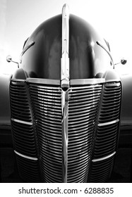 Abstract view of a 1930's era automobile front end.
