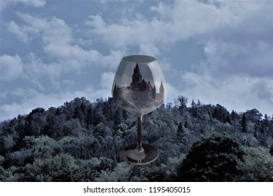 Abstract view of the castle Bouzov in Czech Republic through the glass in blue color.