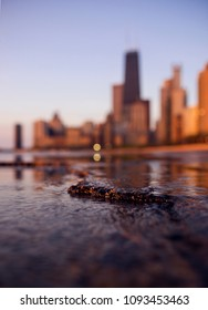 A abstract view of the Chicago skyline. The photo is from the shore path of Lake Michigan, with a low view of the city.
