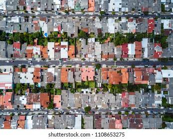 A abstract view directly above a suburban neighborhood in San Salvador El Salvador.