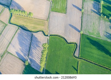 Abstract view from hot air balloon over fields, Flanders, Belgium