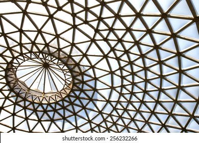 abstract view of metal and glass roof of conservatory