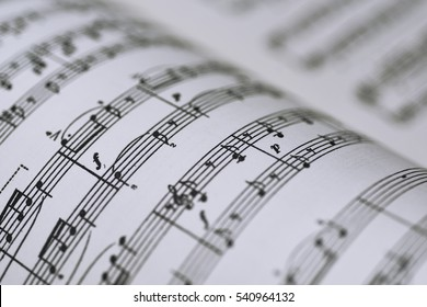 Abstract view of music. Book with notes.
