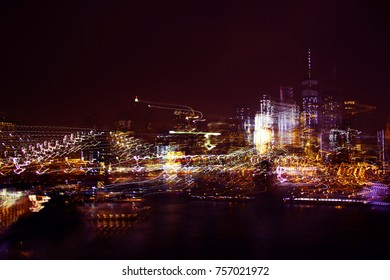 Abstract view of nightly skyline Manhattan, blurry, movement, One World Trade Center, NYC
