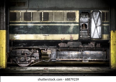 Abstract view at an old diesel locomotive, lots of detail