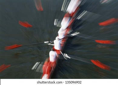 Abstract view of rowing crew, Cambridge, Massachusetts