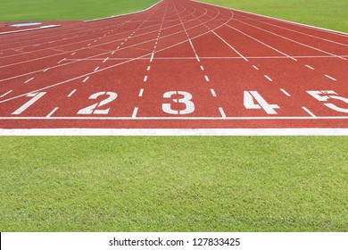 Abstract View Of Running Track And Green Field