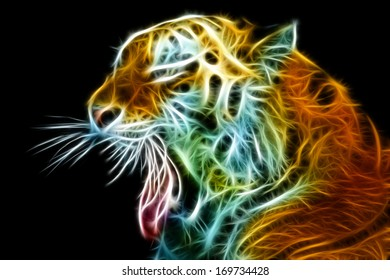 Abstract view of the tiger head with an open mouth. Side view. Black background.
