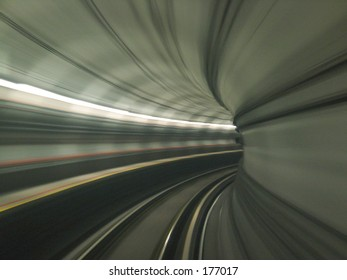 Abstract View - Train moving in Tunnel