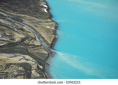 Abstract view of turquoise lake in Manang, View from Poon Hill, Annapurna Conservation Area. Nepal