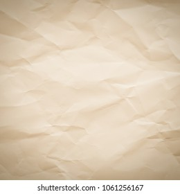 Abstract vintage brown color crumpled paper square background with vignette shadow effect