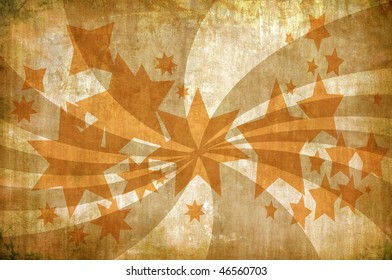 abstract vintage grunge background with stars and rays for multiple uses