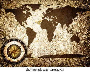 abstract vintage grunge travel background with world map and compass