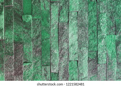 abstract vintage teal, sea-green natural quartzite stone bricks texture for any purposes.