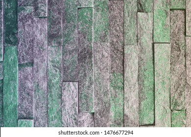 abstract vintage teal, sea-green natural quartzite stone bricks texture for design purposes.