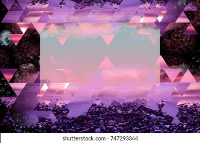 Abstract violet background with geometric and natural organic elements. Beautiful modern composition of triangles and red berry fruits.