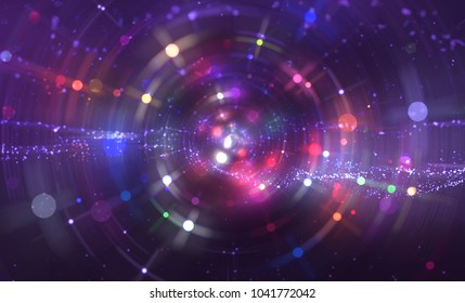 abstract violet background with scintillating circles and particles. illustration beautiful.