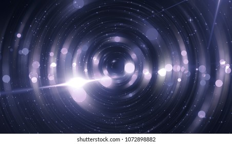 Abstract violet bokeh circles on a black background. Glamour illustration with particles and rays.