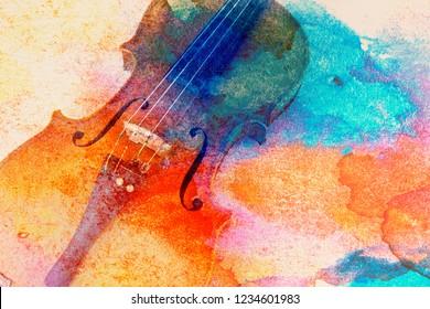 Abstrakter Geigenhintergrund - Geige auf dem Tisch, Musikkonzept