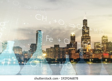 Abstract virtual chemistry illustration on Chicago cityscape background, science and research concept. Multiexposure